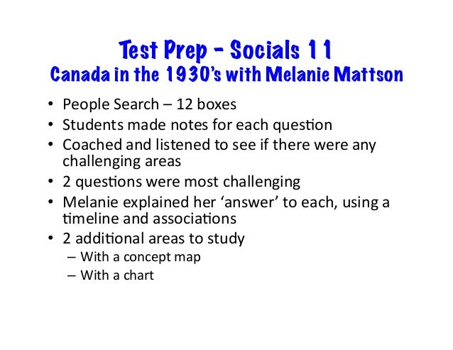 Test Prep – Socials 11 Canada in the 1930's with Melanie Mattson • PeopleSearch–12boxes • Studentsmadenotesfore...