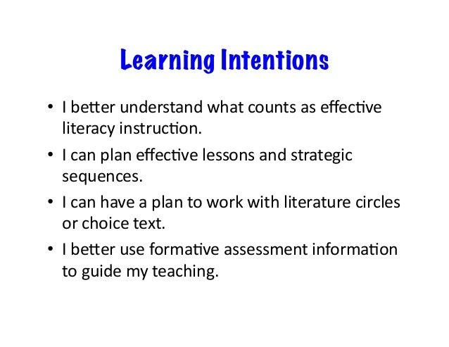 Learning Intentions • Ibe]erunderstandwhatcountsaseffecSve literacyinstrucSon. • IcanplaneffecSvelessonsand...
