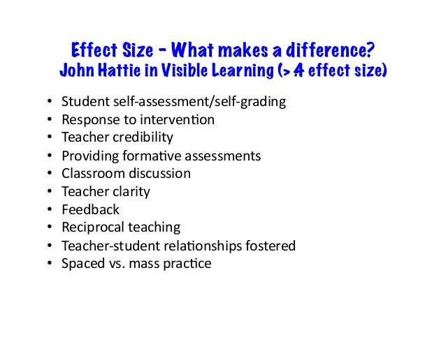 Effect Size – What makes a difference? John Hattie in Visible Learning (> .4 effect size) • Studentself-assessment/self-...