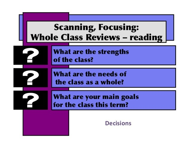 Scanning,Focusing: WholeClassReviews–reading Whatarethestrengths oftheclass? Whataretheneedsof thecl...