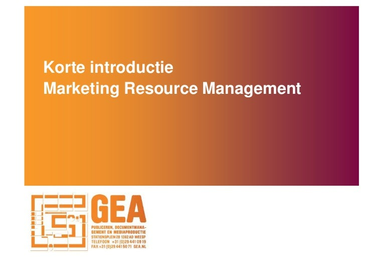 Korte introductieMarketing Resource Management<br />
