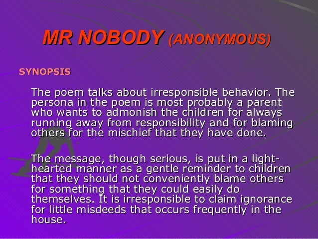 Poem mr nobody College paper Example