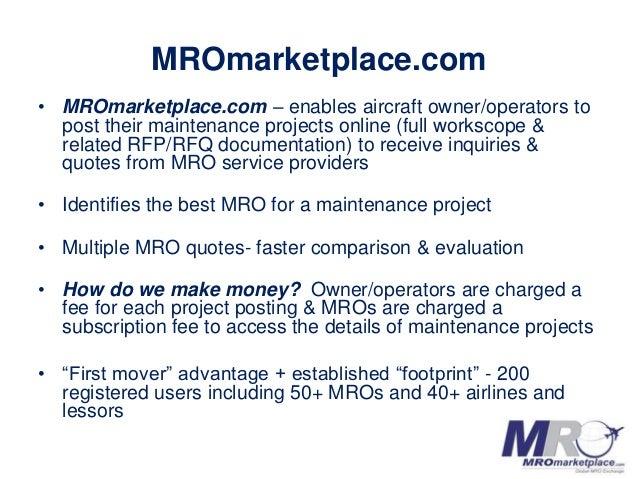 MROmarketplace.com AeroInnovate Pitch Deck Slide 2