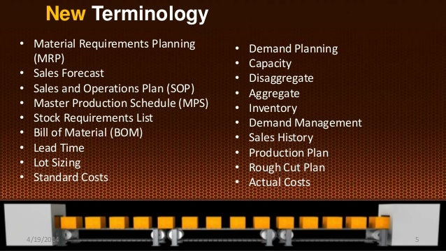 New Terminology • Material Requirements Planning (MRP) • Sales Forecast • Sales and Operations Plan (SOP) • Master Product...