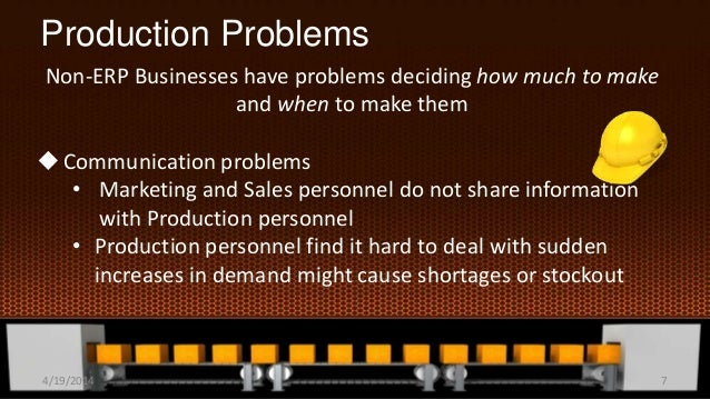 Production Problems Non-ERP Businesses have problems deciding how much to make and when to make them Communication proble...