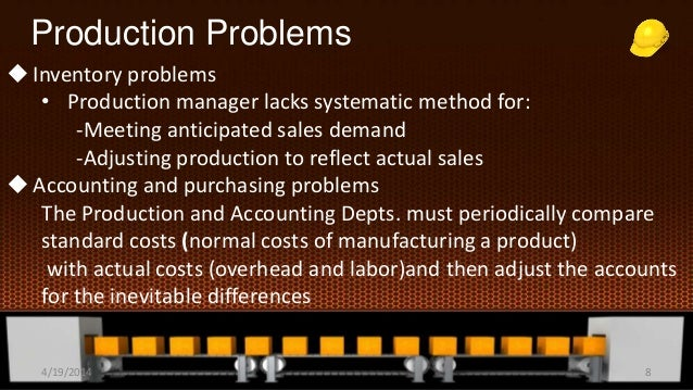Production Problems Inventory problems • Production manager lacks systematic method for: -Meeting anticipated sales deman...