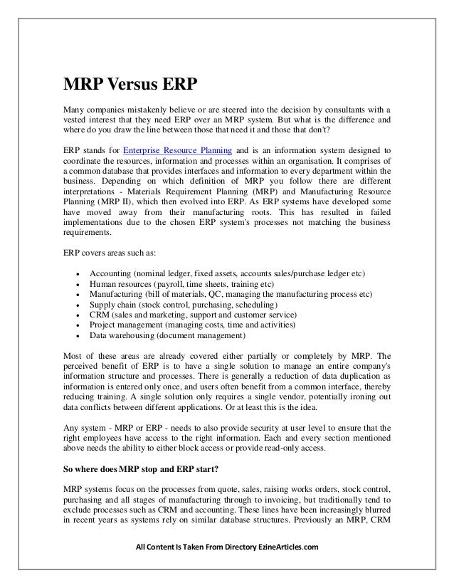 Difference Between Erp Mrp Systems The Difference Between