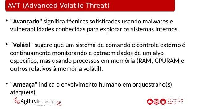 O que os APTs/AVTs tem em comum?O que os APTs/AVTs tem em comum?  Basicamente, o foco é um ataque à rede.  As redes alvo...