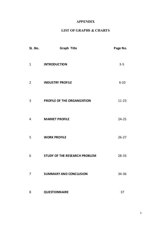 APPENDIX                   LIST OF GRAPHS & CHARTSSL .No.            Graph Title               Page No.1         INTRODUCT...