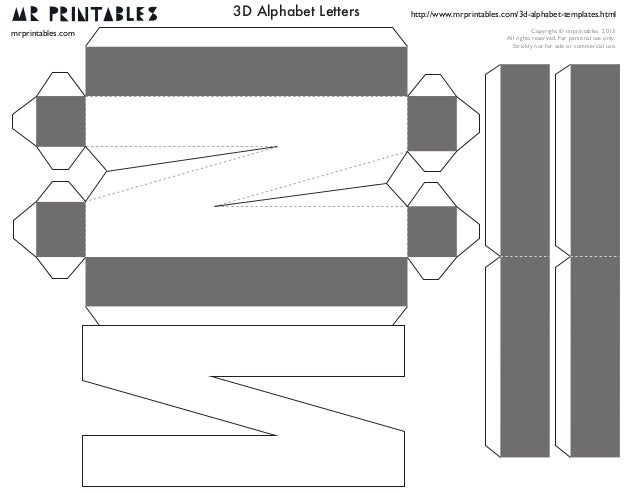 3d letter template printable  Mrprintables 13d-alphabet-templates-n-to-z