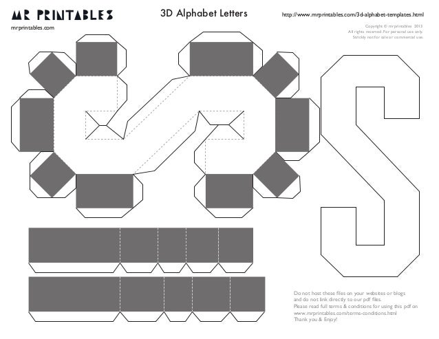 3d letter template  Mrprintables 13d-alphabet-templates-n-to-z