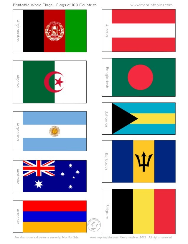 Dynamic image throughout printable flags of the world