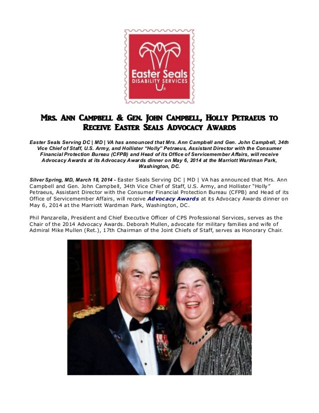 Mrs. Ann Campbell & Gen. John Campbell, Holly Petraeus to Receive Easter Seals Advocacy Awards Easter Seals Serving DC | M...