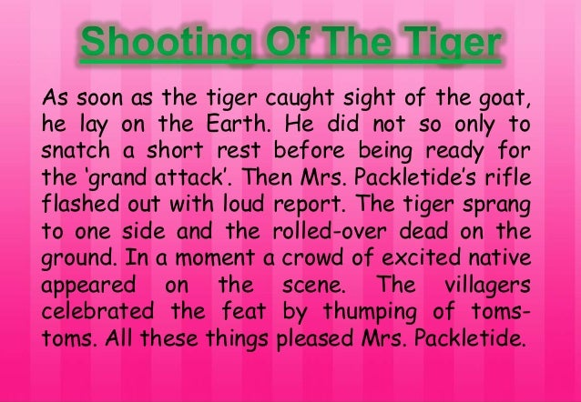 mrs packletide s tiger Mrs packletide's tiger previous years' questions 1 why did mrs packletide wish to kill a tiger  or why does mrs packletide want to kill a tiger  or what made mrs packletide go for a tiger hunt .