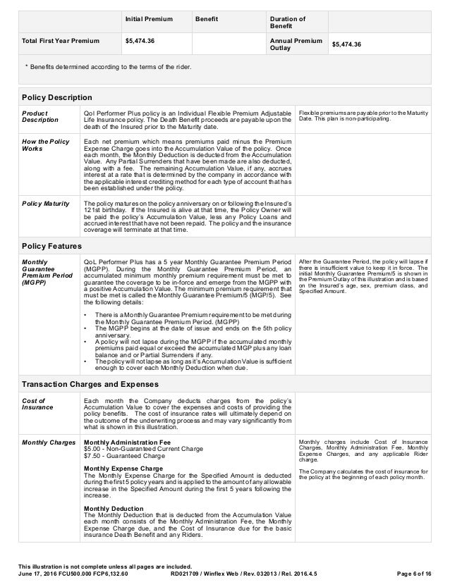 insurance rider template  AIG Sample Illustrations for Critical, Chronic
