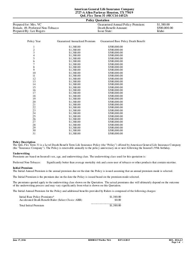 Exceptional American General Life Insurance Company 2727 AAllen Parkway Houston, TX  77019 QoL Flex Term ...
