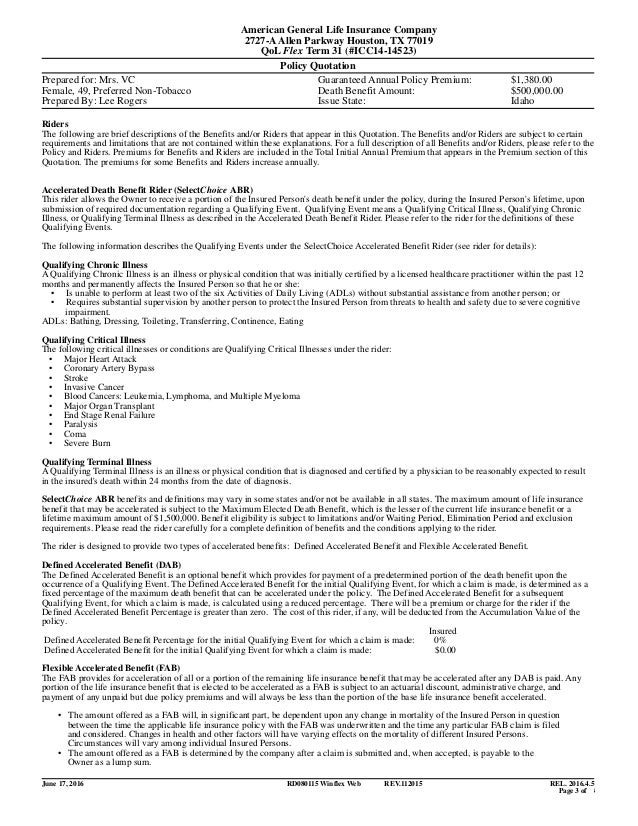 American General Life Insurance Payment
