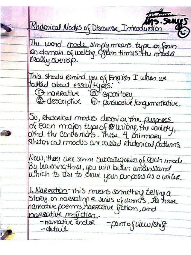 Mrs. scrugg's rhetorical modes  handwritten notes