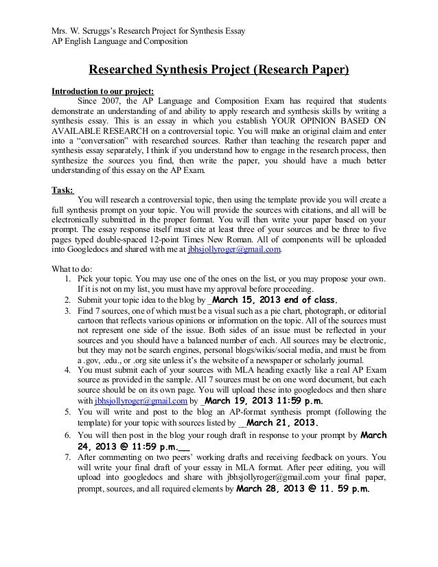 Proposal Essays  English Short Essays also Essay On English Subject Mrs Wendy Scruggs Research Synthesis Prompt Paper Project  Essay Examples For High School