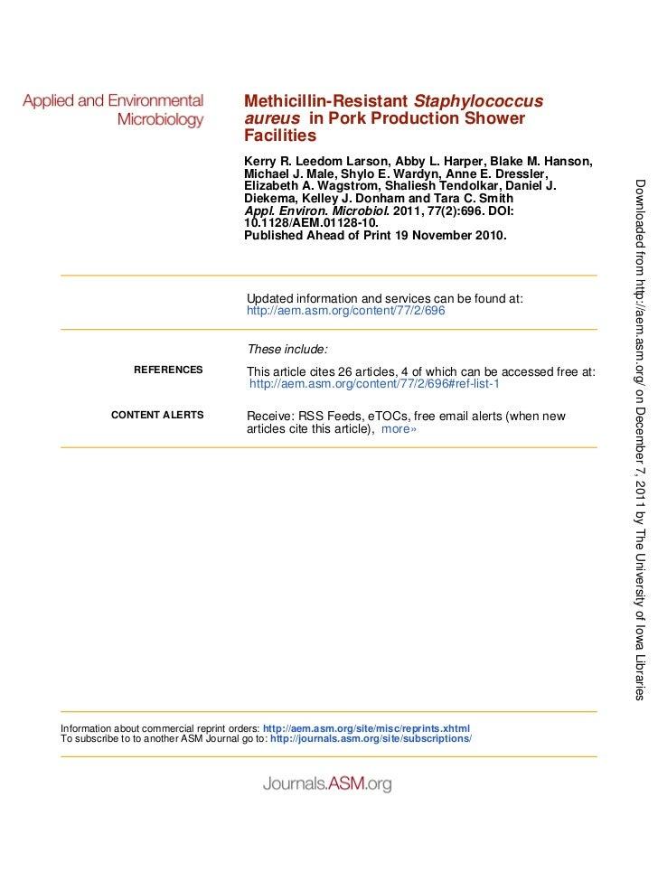 Methicillin-Resistant Staphylococcus                                       aureus in Pork Production Shower               ...