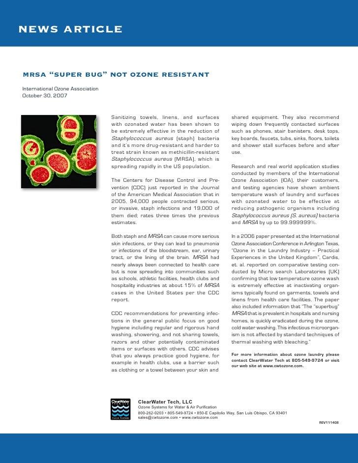 "news articlemrsa ""super bug"" not ozone resistantInternational Ozone AssociationOctober 30, 2007                           ..."