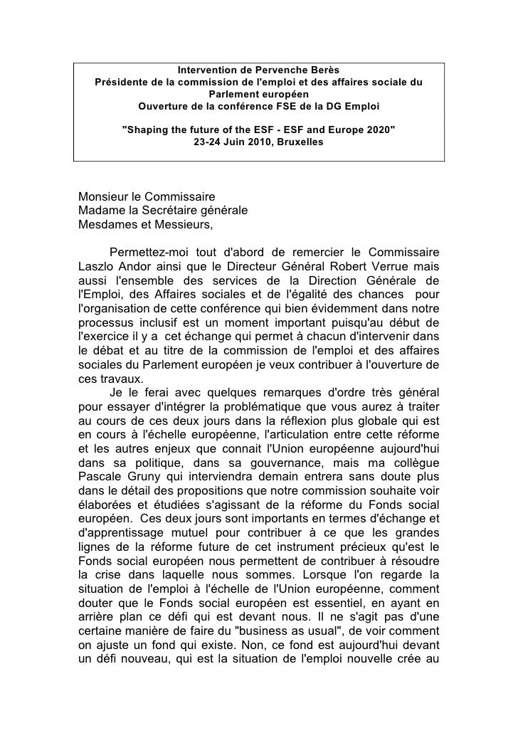 Intervention de Pervenche Berès    Présidente de la commission de l'emploi et des affaires sociale du                     ...