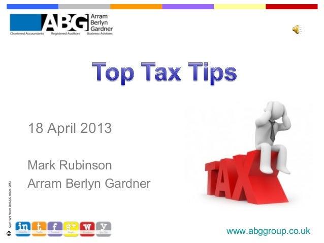 18 April 2013                                      Mark Rubinson                                      Arram Berlyn Gardner...