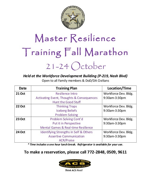 Master Resilience Training Fall Marathon 21-24 October Held at the Workforce Development Building (P-219, Nash Blvd) Open ...