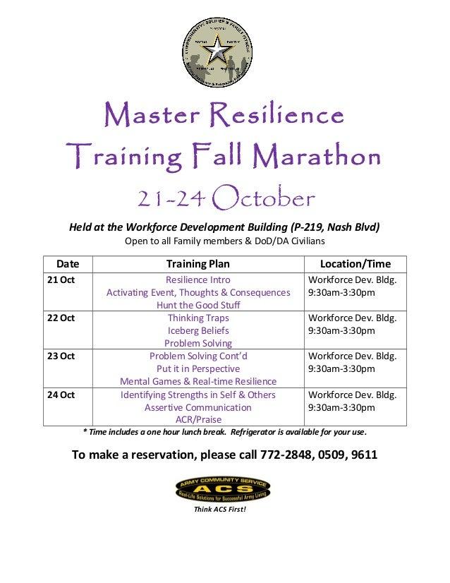 Master Resilience  Training Fall Marathon 21-24 October Held at the Workforce Development Building (P-219, Nash Blvd) Open...