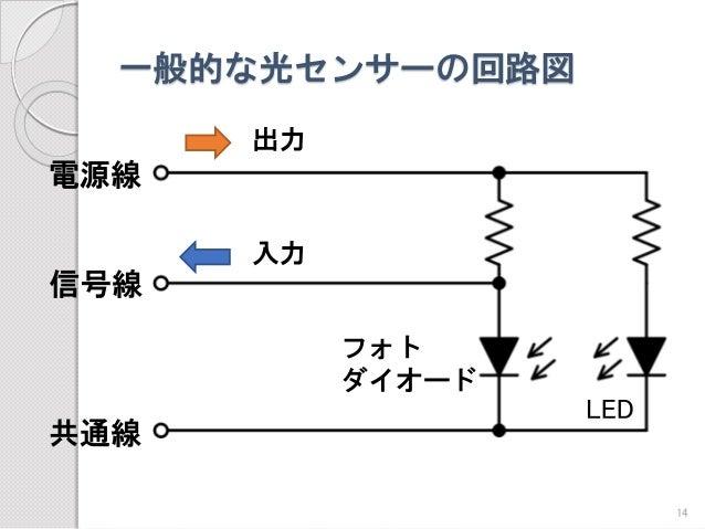 一般的な光センサーの回路図  信号線  電源線  共通線  出力  入力  LED  フォト  ダイオード  14