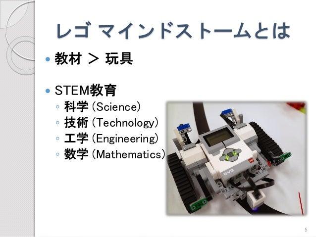 レゴマインドストームとは  教材>玩具  STEM教育  ◦科学(Science)  ◦技術(Technology)  ◦工学(Engineering)  ◦数学(Mathematics)  5