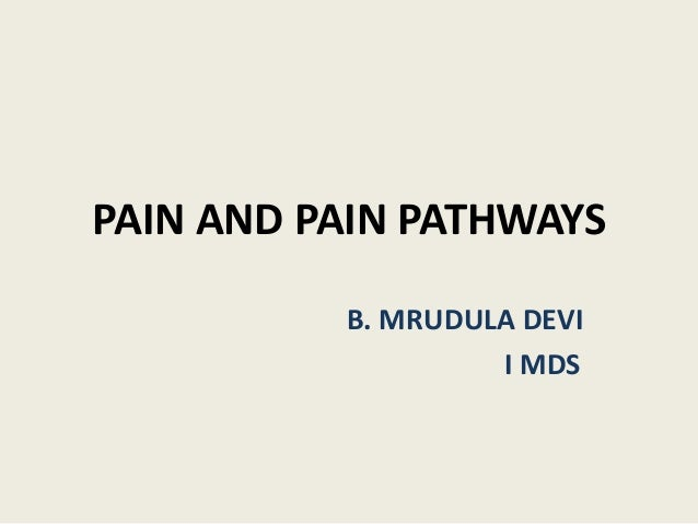 PAIN AND PAIN PATHWAYS B. MRUDULA DEVI I MDS
