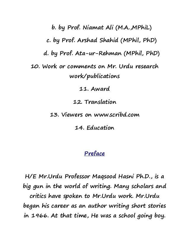 Mr Urdu Life And His Work