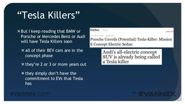 """""""Tesla Killers"""" But I keep reading that BMW or Porsche or Mercedes Benz or Audi will have Tesla Killers soon all of thei..."""