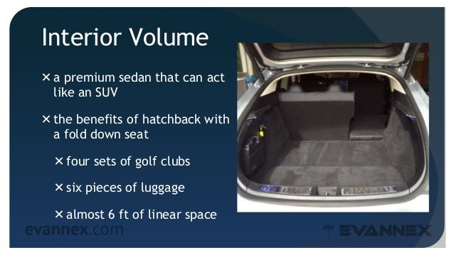 Interior Volume a premium sedan that can act like an SUV the benefits of hatchback with a fold down seat four sets of g...