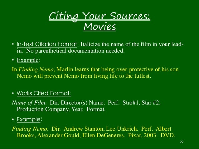 essay movie reference Film/video citation examples (august 2010) citation format is most commonly used for film and begin the cite with the director's name.