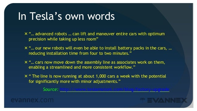 """In Tesla's own words """"… advanced robots … can lift and maneuver entire cars with optimum precision while taking up less r..."""