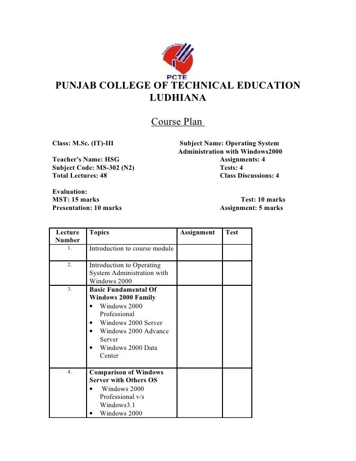 PUNJAB COLLEGE OF TECHNICAL EDUCATION               LUDHIANA                                   Course Plan Class: M.Sc. (I...