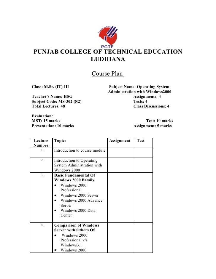 PUNJAB COLLEGE OF TECHNICAL EDUCATION               LUDHIANA                                   Course Plan Class: M.Sc. (I...