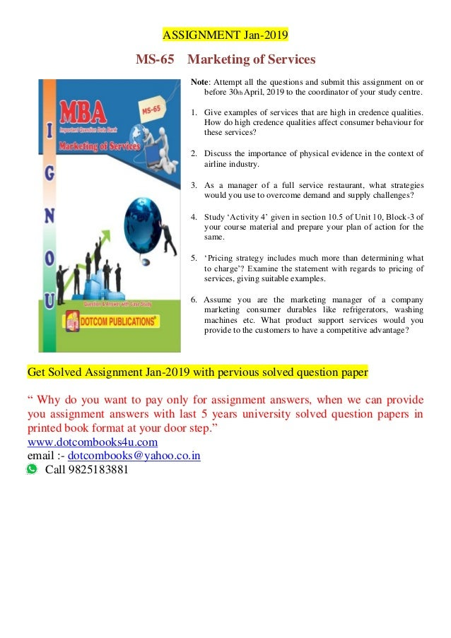 ASSIGNMENT Jan-2019 MS-65 Marketing of Services