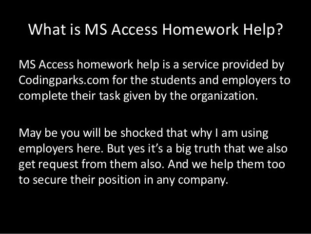 access homework assignment help