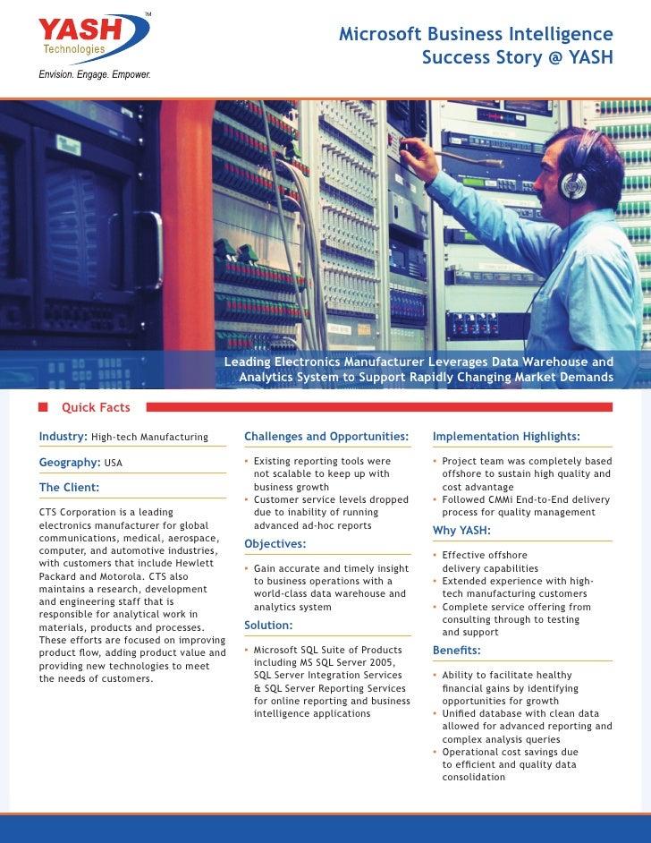 Microsoft Business Intelligence                                                                      Success Story @ YASH ...
