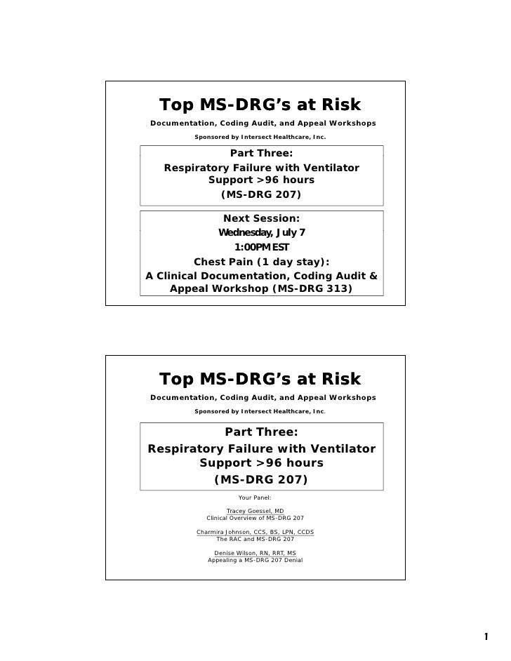 Top MS-DRG's at Risk       MS- Documentation, Coding Audit, and Appeal Workshops          Sponsored by Intersect Healthcar...