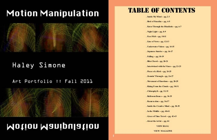 Table of Contents        . Inside My Mind -- pg. 2-3        . Bird of Paradise -- pg. 4-5        . Enter Through the Black...