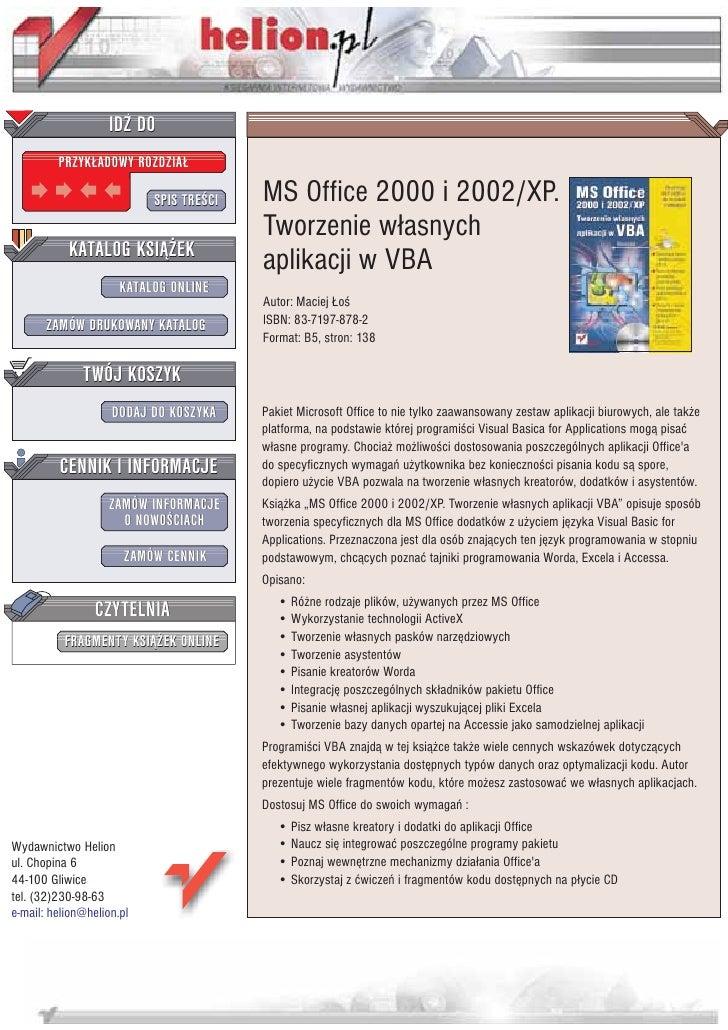 IDZ DO          PRZYK£ADOWY ROZDZIA£                             SPIS TRE CI   MS Office 2000 i 2002/XP.                  ...