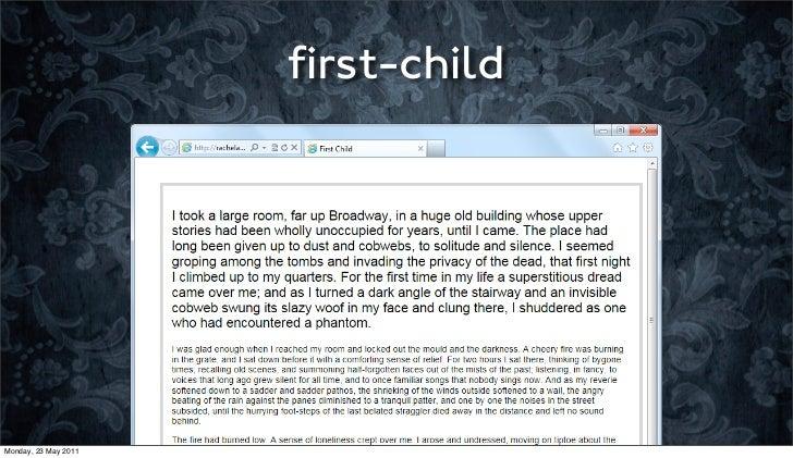 first-childMonday, 23 May 2011