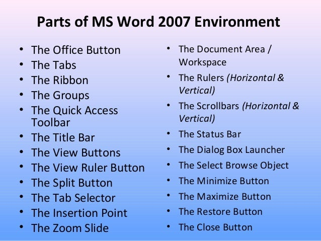 Ms Word Part 1