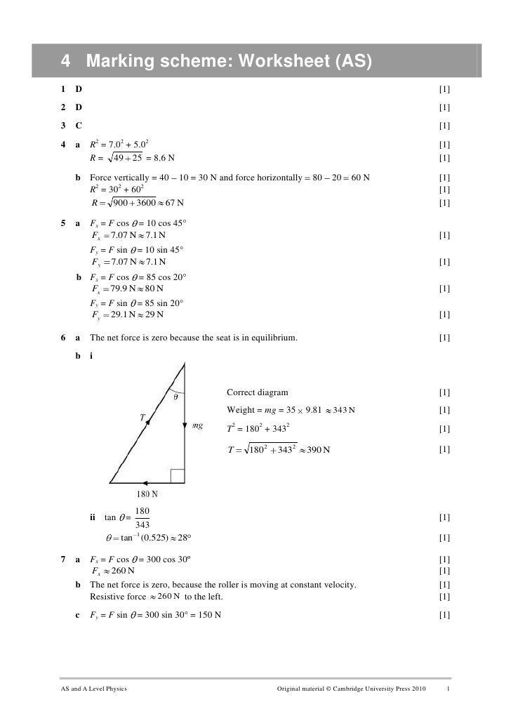 Marking Scheme Worksheet 2 – Net Force Worksheet