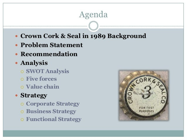 crown cork and seal in 1989 View company leaders and background information for crown cork & seal company, inc search our database of over 100 million company and executive profiles.