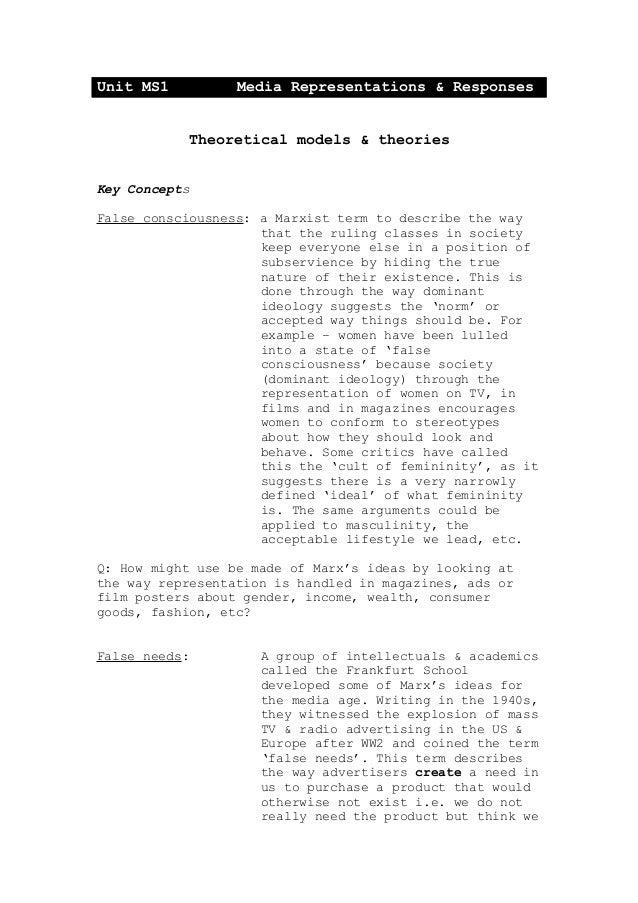 Unit MS1 Media Representations & Responses Theoretical models & theories Key Concepts False consciousness: a Marxist term ...